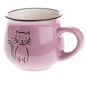 Fialový keramický hrneček s obrázkem kočky Dakls, objem 0,2 l