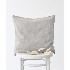 Stříbrošedý lněný povlak na polštář Linen Tales, 45x45cm