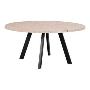 Kulatý jídelní stůl z běleného dubového dřeva s kovovými nohami Rowico Freddie, ø 160 cm