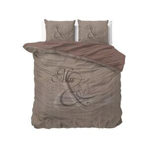 Hnědé bavlněné povlečení na dvoulůžko Pure Cotton Mr and Mrs Knitted,200x200/220cm