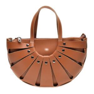 Koňakově hnědá kožená kabelka Roberta M, 31 x 20 cm