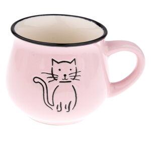 Růžový keramický hrneček s obrázkem kočky Dakls, objem 0,2 l