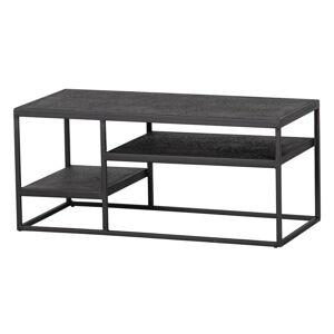 Černý železný zahradní konferenční stolek WOOD Febe,90 x45cm