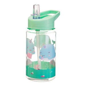 Dětská zelená láhev na vodu Sass & Belle Drink Up Alma Narwhal,400ml