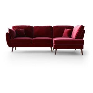 Červená sametová rohová pohovka My Pop Design Auteuil, pravý roh
