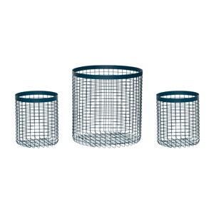 Sada 3 modrých úložných košíků Hübsch Wire Perrio