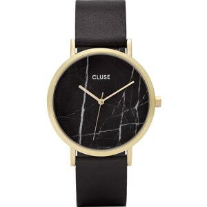 Dámské černé hodinky s koženým řemínkem a mramorovým ciferníkem Cluse La Roche Rose