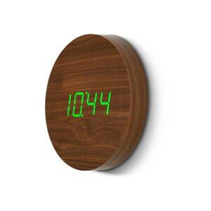 Hnědé nástěnné hodiny se zeleným LED displejem Gingko Wall