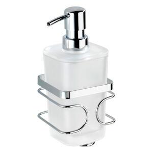 Bílý nástěnný dávkovač na mýdlo s držákem z nerezové oceli Wenko Premium