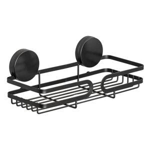 Černá nástěnná police do koupelny Wenko Static-Loc® Pavia, šířka 26 cm