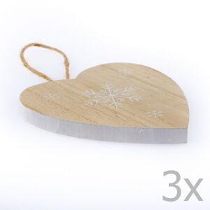 Sada 3 dřevěných závěsných srdcí Dakls Snowflake, výška 11 cm