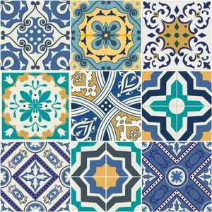 Sada 9 nástěnných samolepek Ambiance Azulejos Vintage Arabesques, 10 x 10 cm