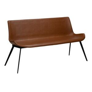 Koňakově hnědá lavice z imitace kůže DAN-FORM Denmark Hype