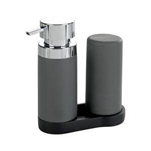 Sada 2 šedých zásobníků na mycí prostředek s podtáckem Wenko Squeeze, 250ml