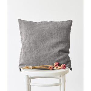 Popelavě šedý lněný povlak na polštář Linen Tales, 45 x 45 cm