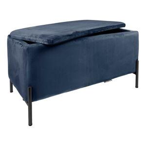 Tmavě modrá lavice s úložním prostorem Leitmotiv Snog