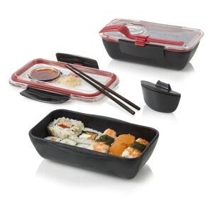Černo-červený svačinový box Black+Blum Bento, 500 ml