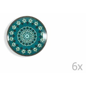 Sada 6 modro-zelených talířů Villad'Este Cala Jondal
