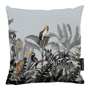 Modro-šedý bavlněný dekorativní polštář Butter Kings Exotic Animals,50x50cm