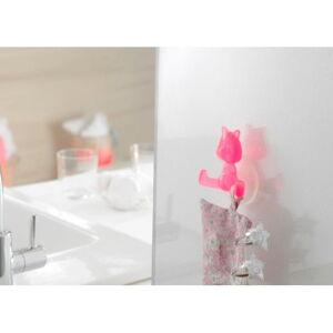 Růžový přísavný háček ve tvaru kočičky Compactor