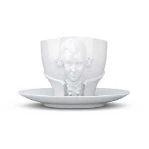 Sada bílého porcelánového hrnečku s podšálkem 58products Wolfgang Amadeus Mozart, objem 260 ml