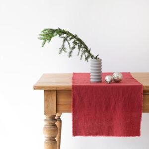 Červený lněný běhoun na stůl Linen Tales Classic,40x 150cm