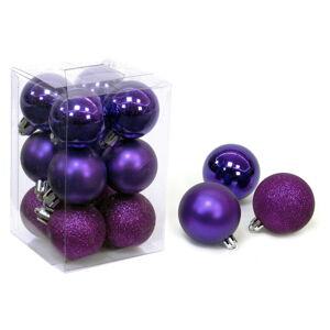 Sada 12 fialových vánočních ozdob Unimasa Navidad, ø 4 cm
