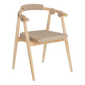 Zahradní židle z eukalyptového dřeva s béžovým výpletem La Forma Majela