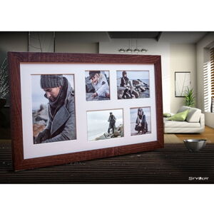 Tmavě hnědý rámeček na 5 fotografií Styler Narvik, 51x27cm