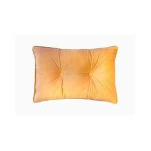 Tmavě žlutý polštář Tiseco Home Studio Velvet Button, 40x60cm