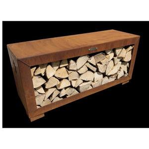 Hnědý ocelový dřevník Remundi,šířka119cm