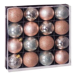 Sada 16 vánočních ozdob v béžovo-stříbrné barvě Unimasa Copper