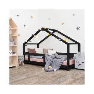 Černá dětská postel domeček s bočnicí Benlemi Lucky, 90 x 180 cm