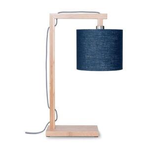 Stolní lampa s modrým stínidlem a konstrukcí z bambusu Good&Mojo Himalaya