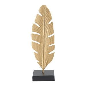 Dekorativní svícen ve zlaté barvě Mauro Ferretti Feather, výška 34 cm