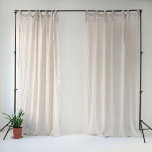 Béžový lněný lehký závěs s poutky Linen Tales Daytime, 275x140cm