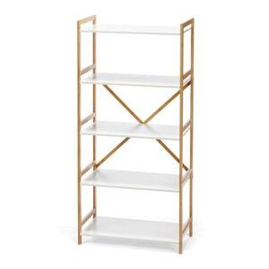 Bílý pětipatrový regál s bambusovou konstrukcí loomi.design Lora