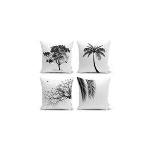 Sada 4 dekorativních povlaků na polštáře Minimalist Cushion Covers Black and White,45x45cm