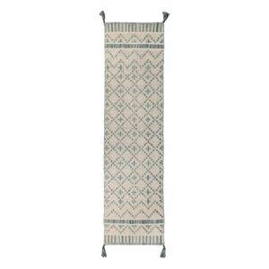 Béžovo-modrý bavlněný běhoun Flair Rugs Leela, 60 x 200 cm