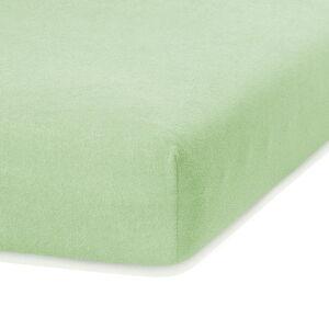 Světle zelené elastické prostěradlo s vysokým podílem bavlny AmeliaHome Ruby, 160/180 x 200 cm