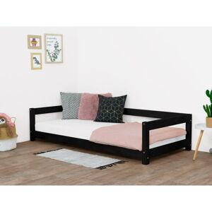 Černá dětská postel ze smrkového dřeva BenlemiStudy, 90x180cm
