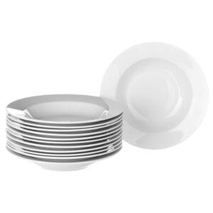 Sada 12 bílých hlubokých porcelánových talířů Unimasa Elegant