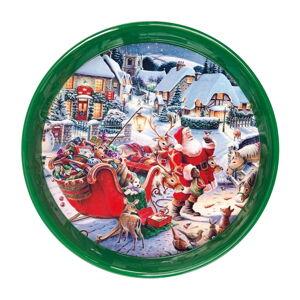 Kulatý zelený podnos s vánočním motivem Brandani, ⌀ 38 cm