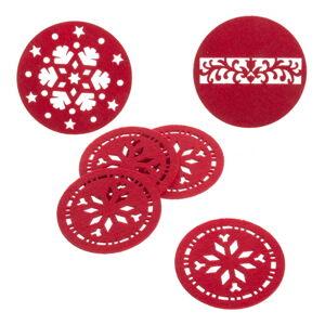 Sada 4 červených vánočních podtácků Unimasa, ø 10 cm