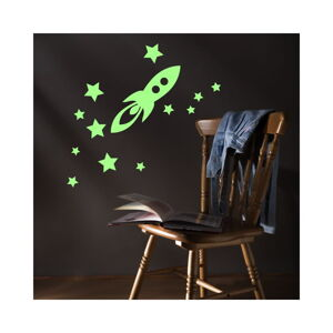 Svítící samolepka Ambiance Rocket And Stars