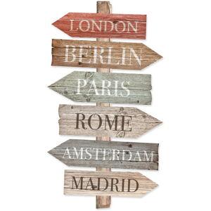 Dřevěné směrovky Really Nice Things Cities, 50 x 30 cm
