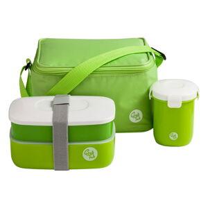 Set zeleného svačinového boxu, hrníčku a tašky Premier Housewares Grub Tub,21x13cm