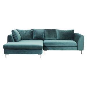 Tyrkysově modrá sametová rohová pohovka Kare Design Gianni, levý roh