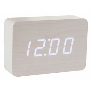 Bílý budík s bílým LED displejem Gingko Brick Click Clock