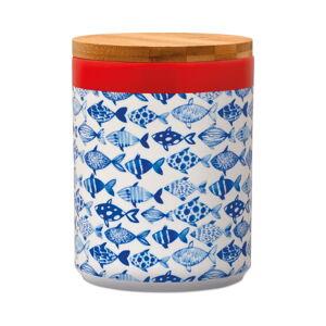 Dóza na skladování potravin s bambusovým víkem Remember Fish,1,25l